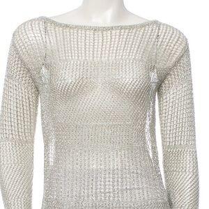 Alice + Olivia open knit silver metallic top